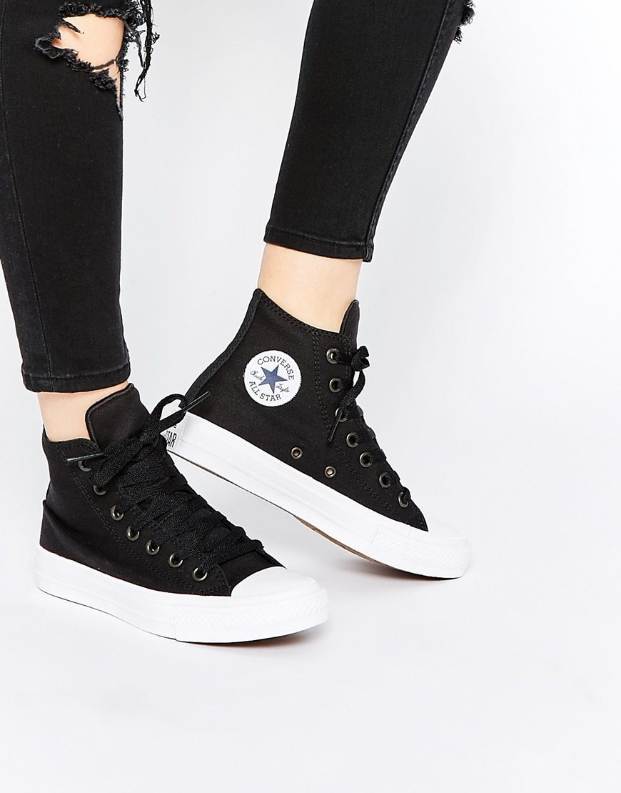 625c8c5995f3 Image 1 of Converse Chuck Taylor II Black Hi Top Trainers