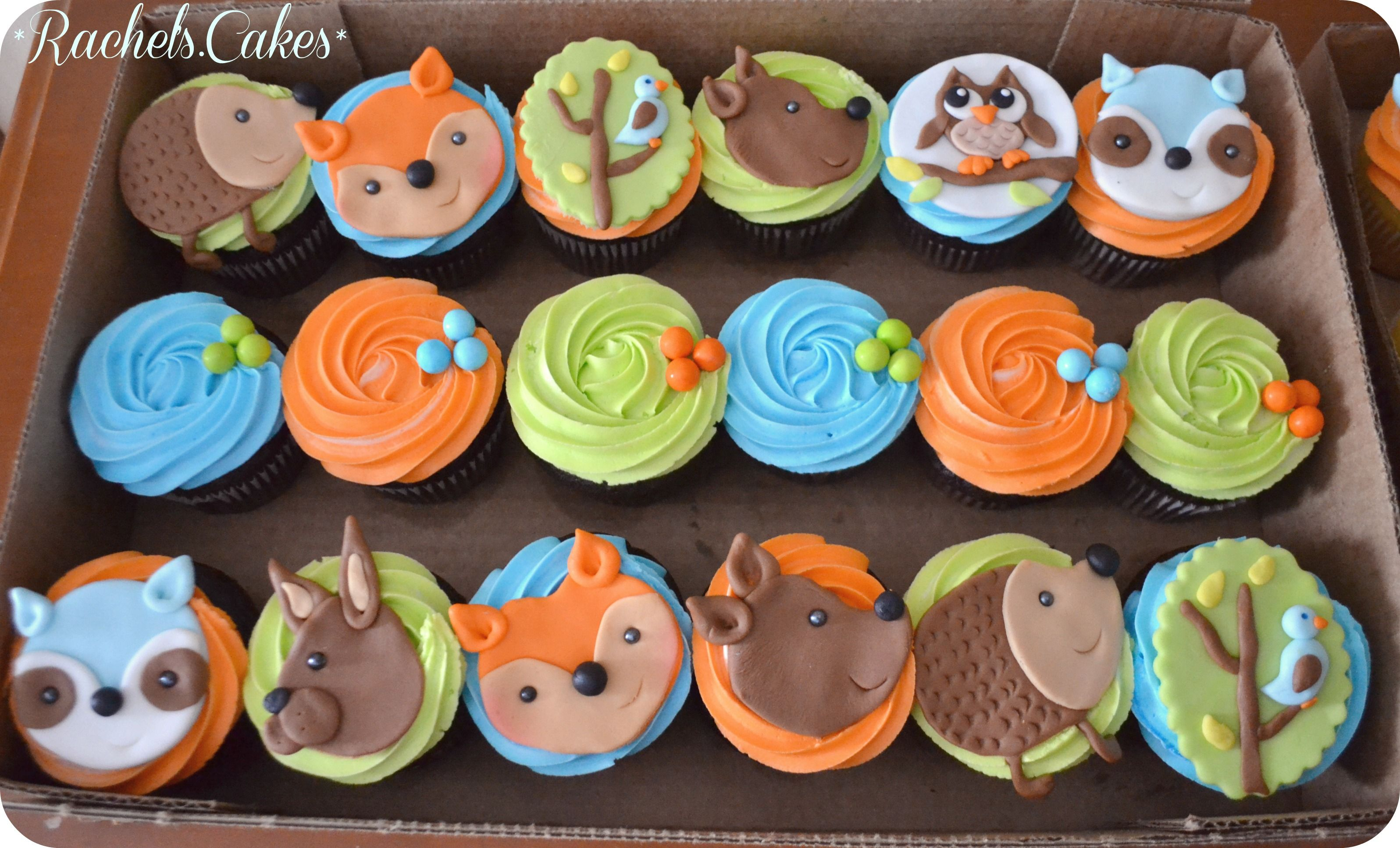 woodland creature cupcakes | My Own Cakes in 2019 | Baby ...