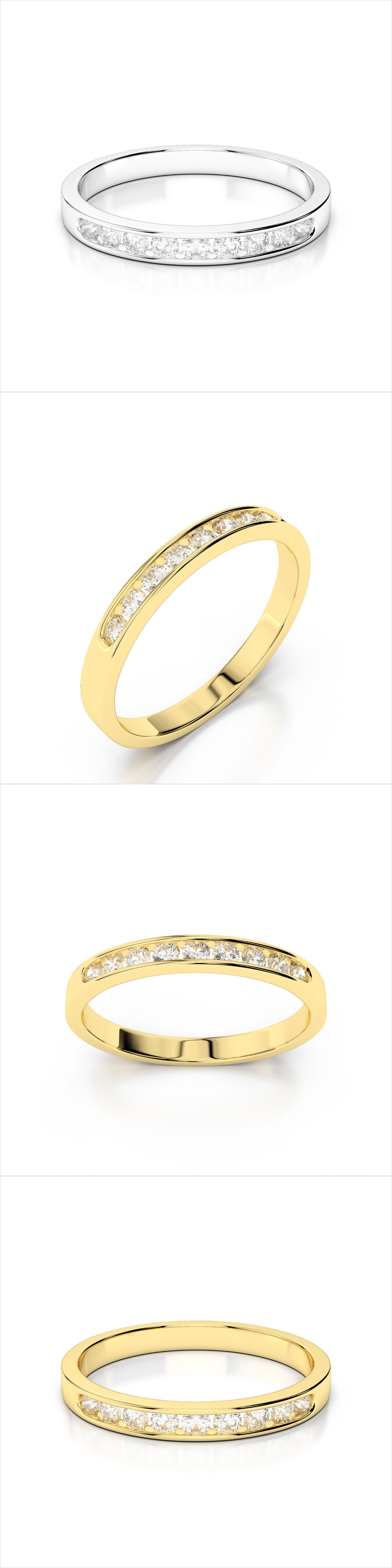 ebay wedding rings sets Wedding rings 14K White Gold 25Ctw Diamond Channel Set Wedding Band Ring