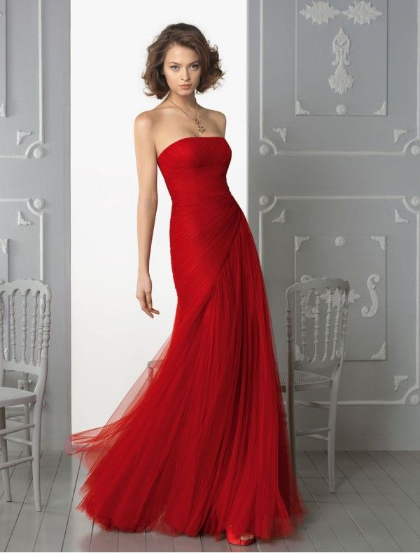 Tulle Strapless Neckline A-Line Evening Dress with Side Gathered ...