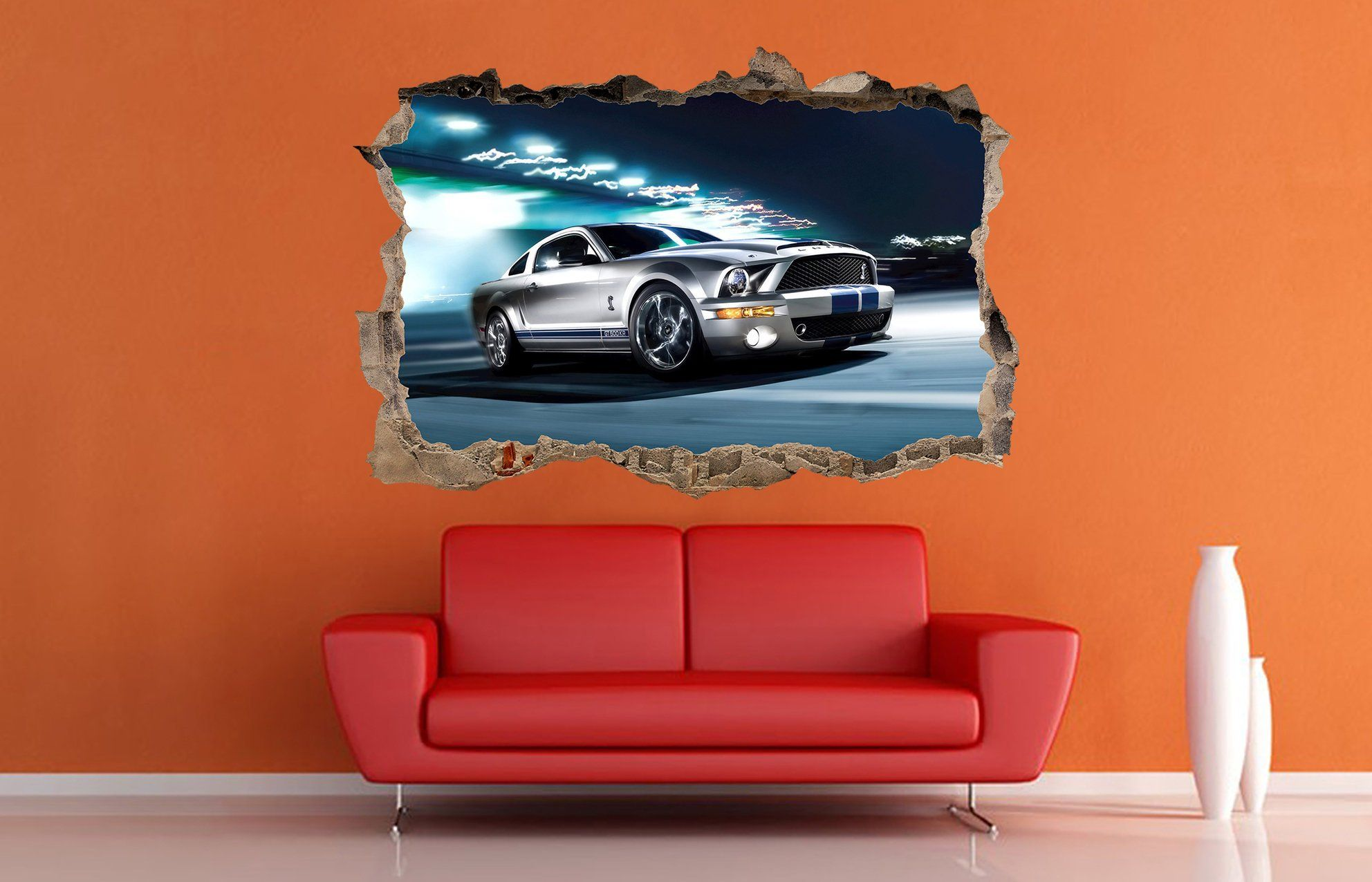 Ford shelby gt500 car decal car sticker car decor 3d wall crack decal ford print vinyl sticker ford decal sportcar supercar kids room decor by artideadecal