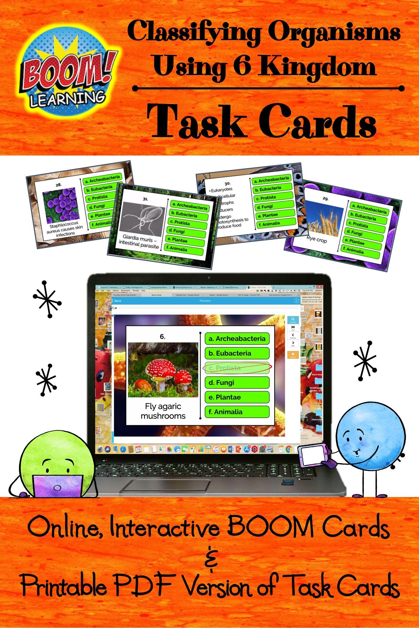 6 Kingdom Classification Task Card Online Activity Task Cards Digital Activities Free Science Worksheets