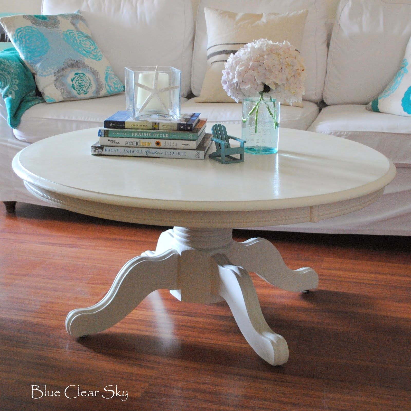 Blue Clear Sky Painted White Pedestal Coffee Table With