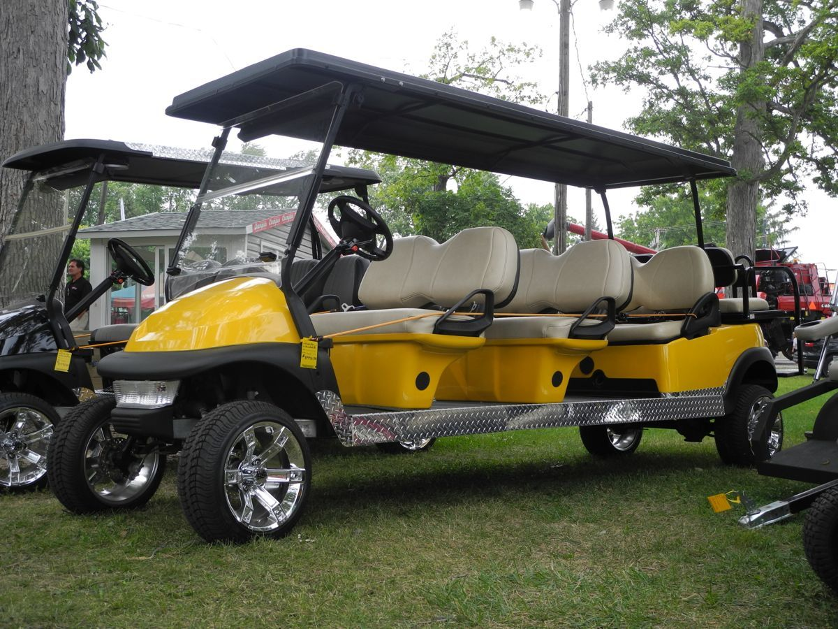 This Club Car Precedent Electric Golf Car Has Been Stretched Into An 8 Passenger Street Ready Custom Limo Complete With P Golf Buggy Custom Golf Carts Golf Car