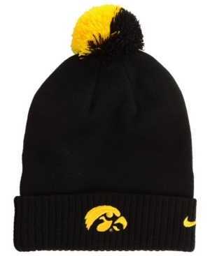 77267b5c73960 Nike Iowa Hawkeyes Beanie Sideline Pom Hat - Black Adjustable ...