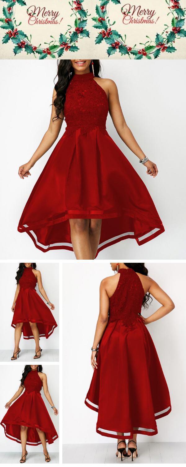 673bd2fa8dd9c Sleeveless Lace Panel Wine Red High Low Dress .There s no such thing as too  much red.Make a statement in this dress with a playful pop of lace.
