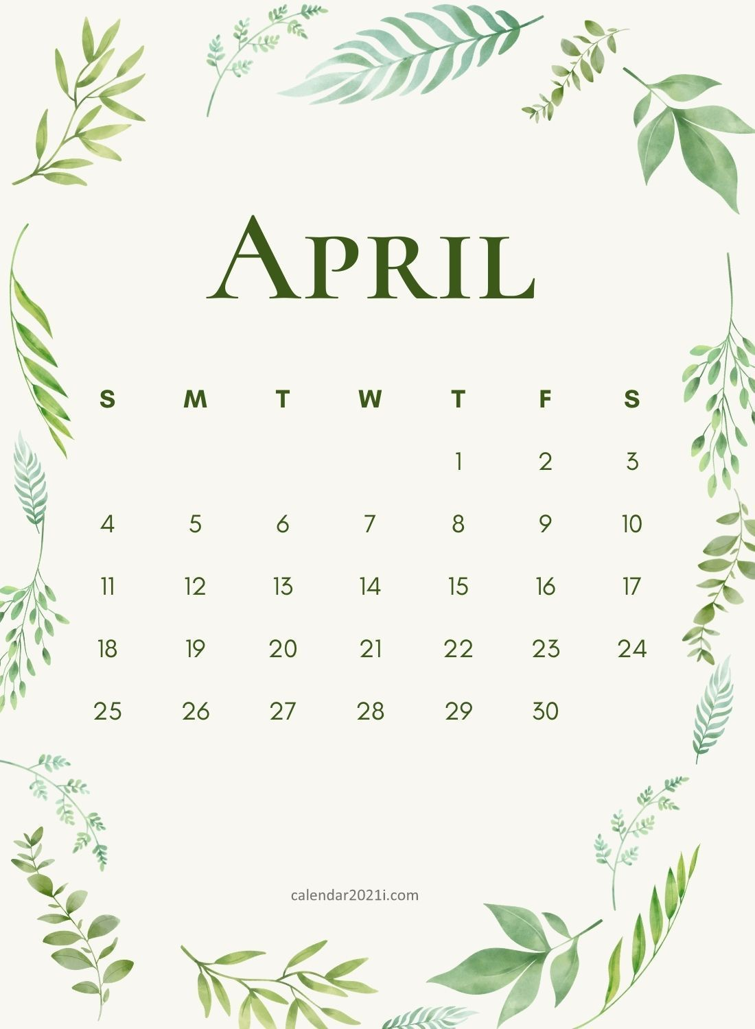 April 2021 Wall Calendar printable template download for House and