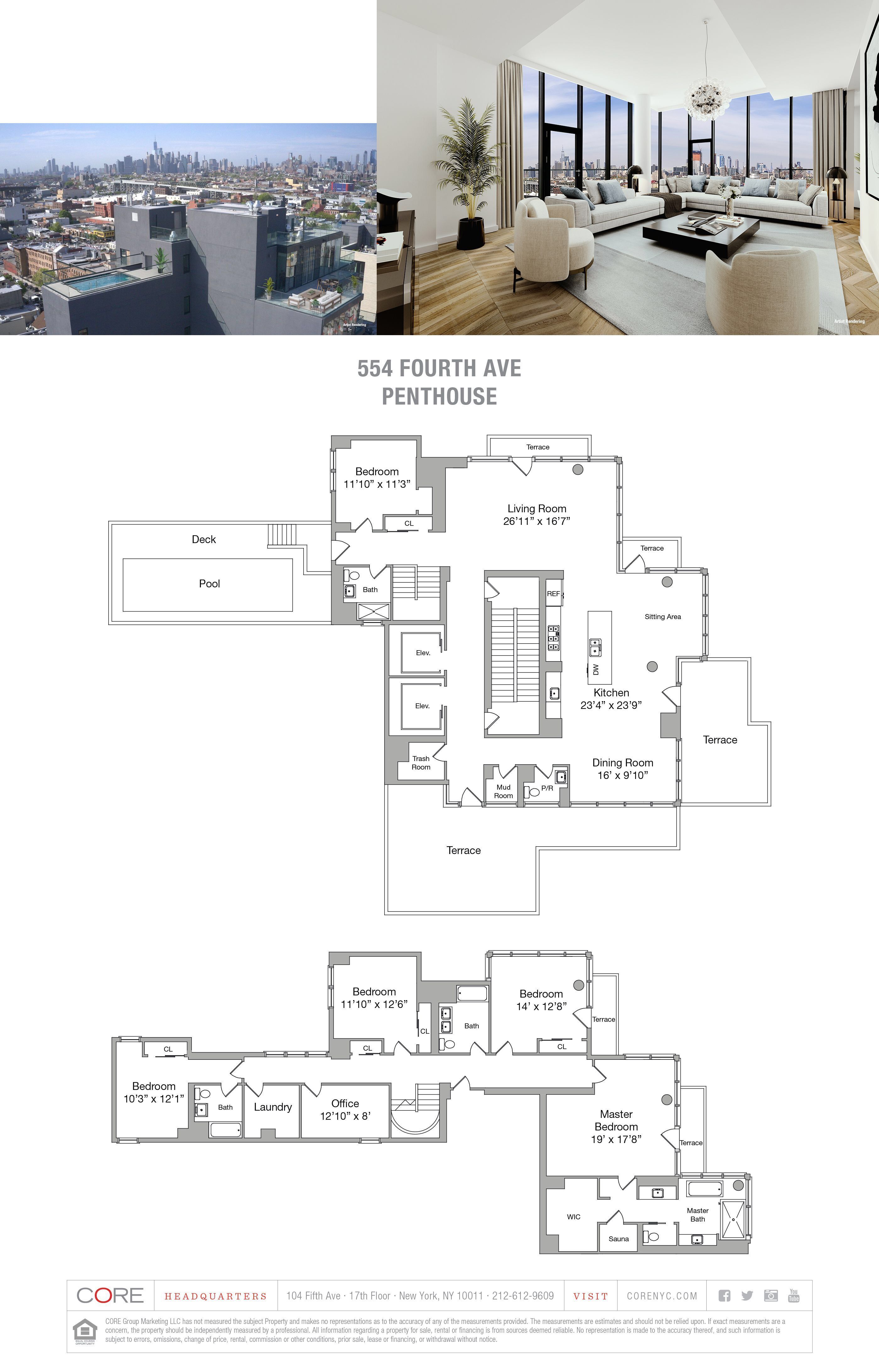 554 Fourth Ave Penthouse Brooklyn Ny 11215 Core Real Estate Penthouse Apartment Floor Plan Apartment Floor Plans Modern House Plans