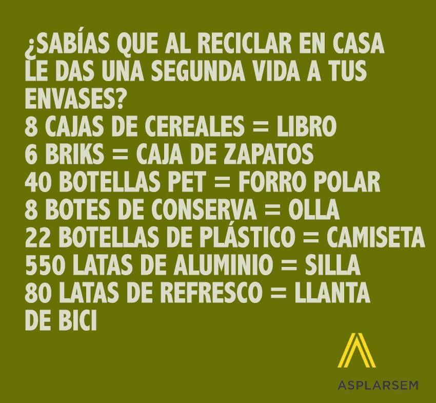 #Infografía Reciclar da muuucha vida Via ASPLARSEM