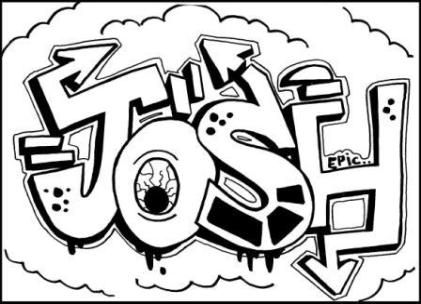 Learn to draw graffiti names JOSH. Just click on Free