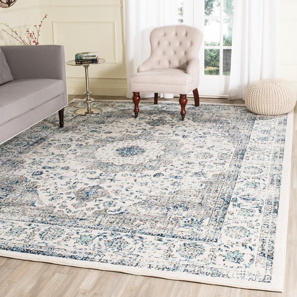 Safavieh Evoke Gray Ivory 10 Ft X 14 Ft Area Rug Evk220d 10 Living Room Area Rugs Rugs In Living Room Area Room Rugs