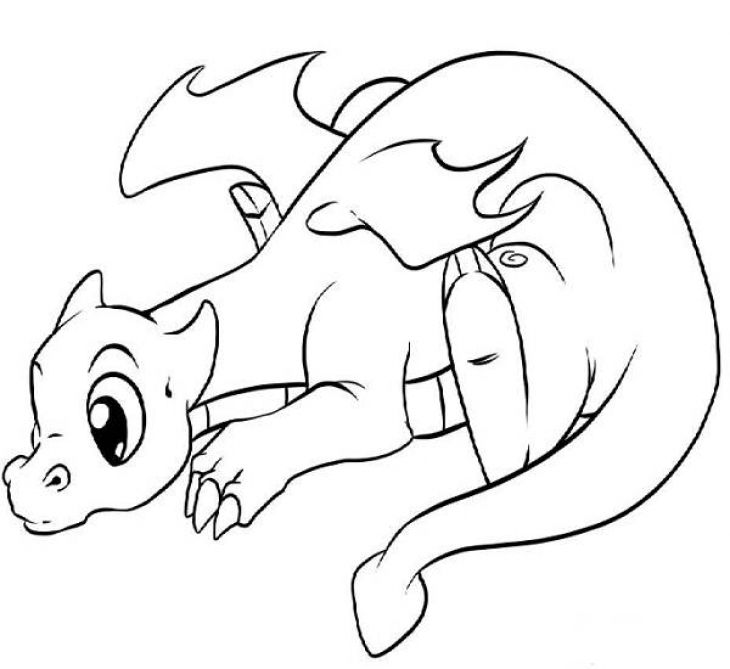 Lonely Little Dragon Kids Printable Coloring Page Free