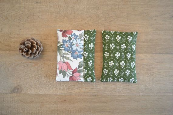 olive green floral cotton lavender sachets - floral rustic home decor - hostess gift dresser decor- floral blue pink - pure lavender pillow #lavender #sachets #redstitch