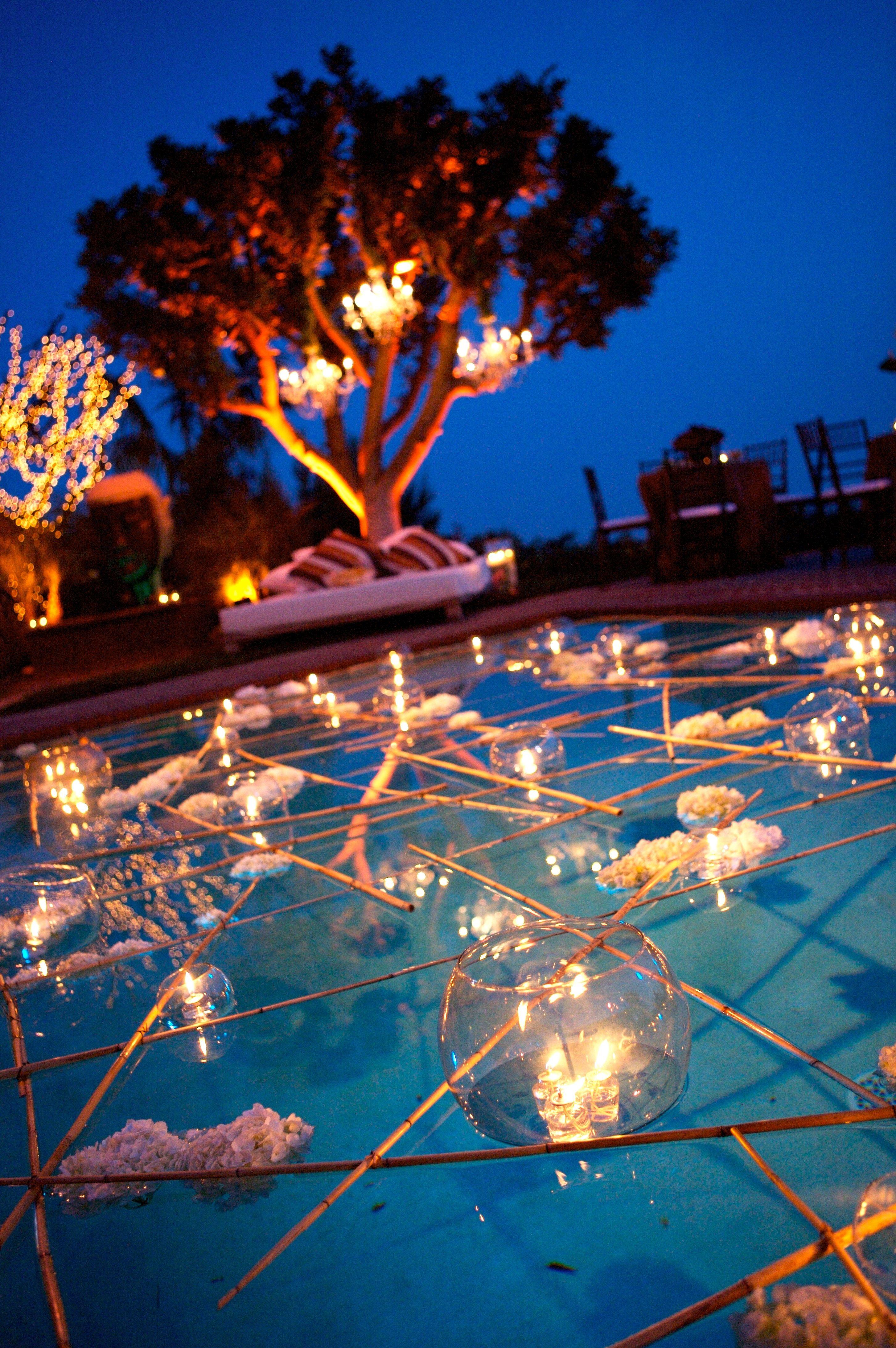 Pool Wedding Ideas floating water lanterns for wedding lakeside wedding pinterest water Backyard Weddingive Always Wanted To Get Married In A Backyard