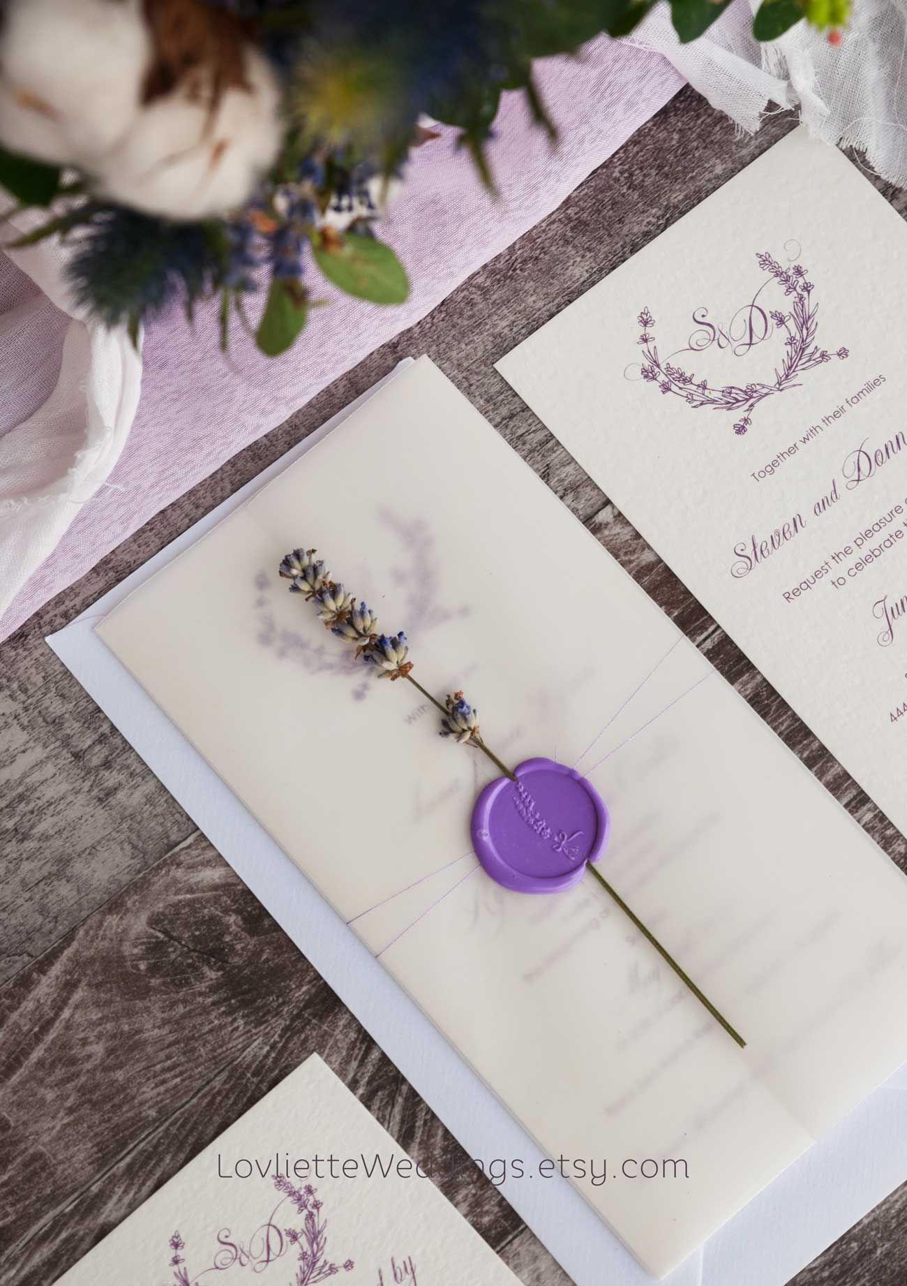 Lavender Wedding Invite Lavender Wedding Invitations Lavender Wedding Theme Lavender Wedding
