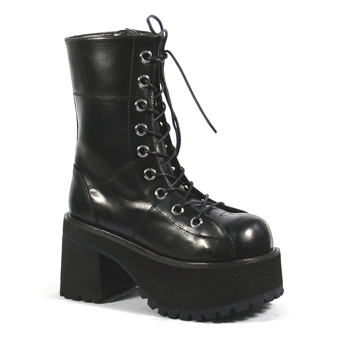 Platform Ankle Boots Black Lace Up
