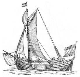 boeier midden 17e eeuw met mars top zeil en blinde de