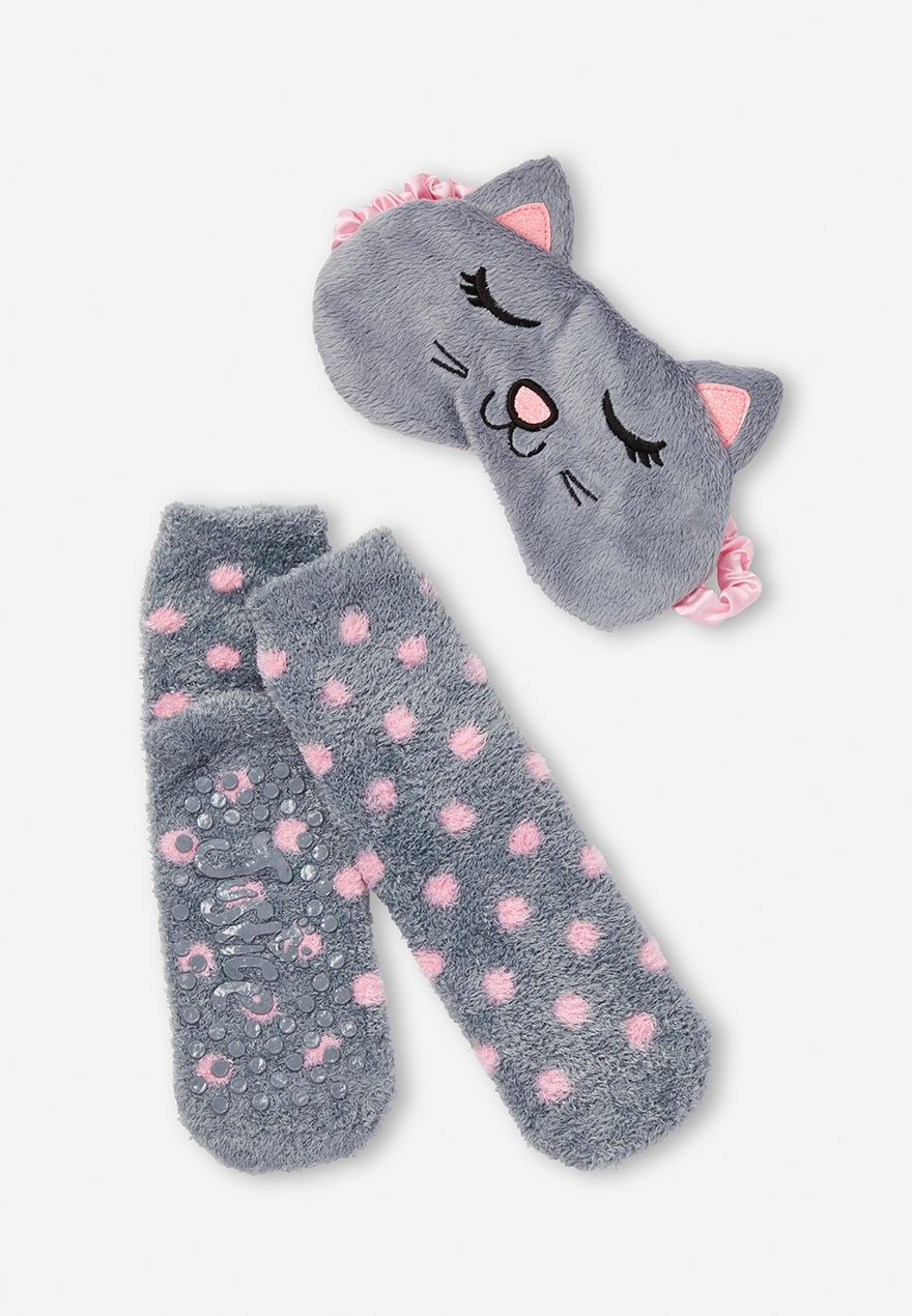 Baby Girl Bedroom Slippers: Pretty Kitty Sleep Mask & Socks Set