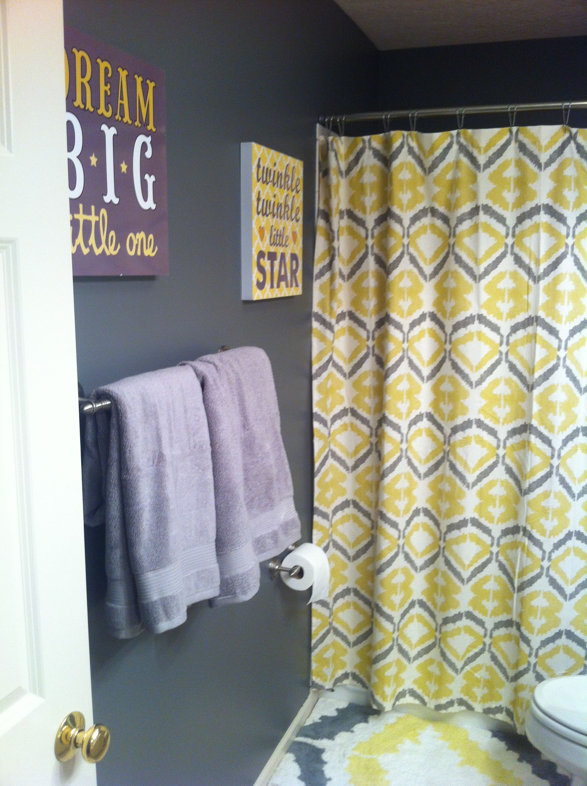 Upstairs bath dark gray and yellow west elm shower curtain and mat