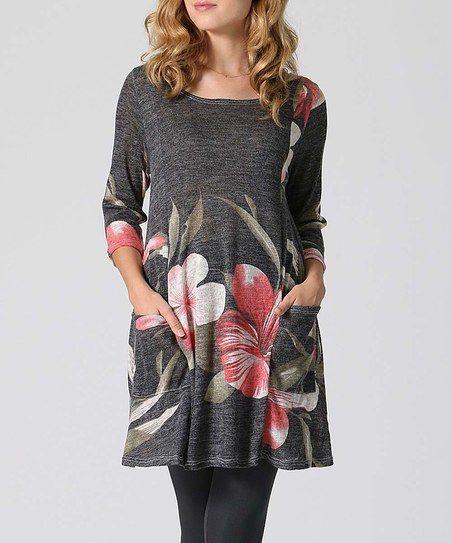 66b74c707f5 42POPS Black Floral Pocket Tunic