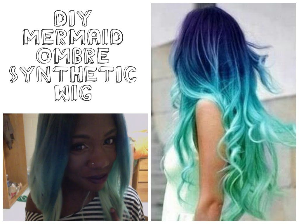 Diy Mermaid Ombre Synthetic Wig Video Weaves Wigs Extensions