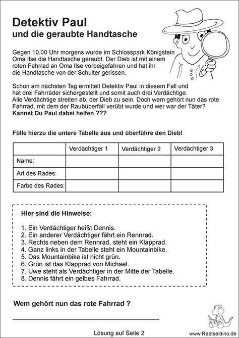 Detektivrätsel für Kinder mit Lösung | habiba | Pinterest | Deutsch ...