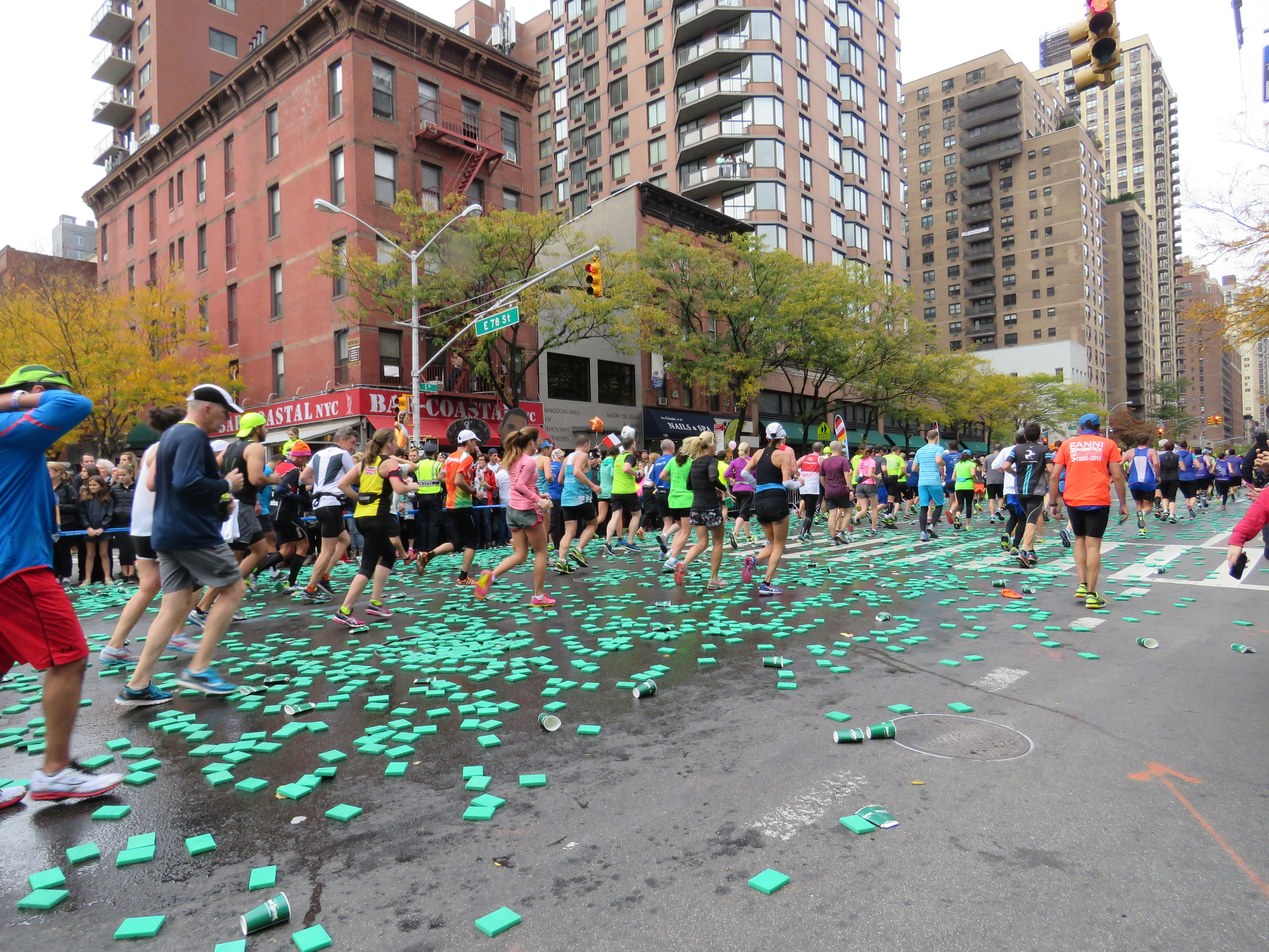 Nyc marathon poland springs offered sponges and water