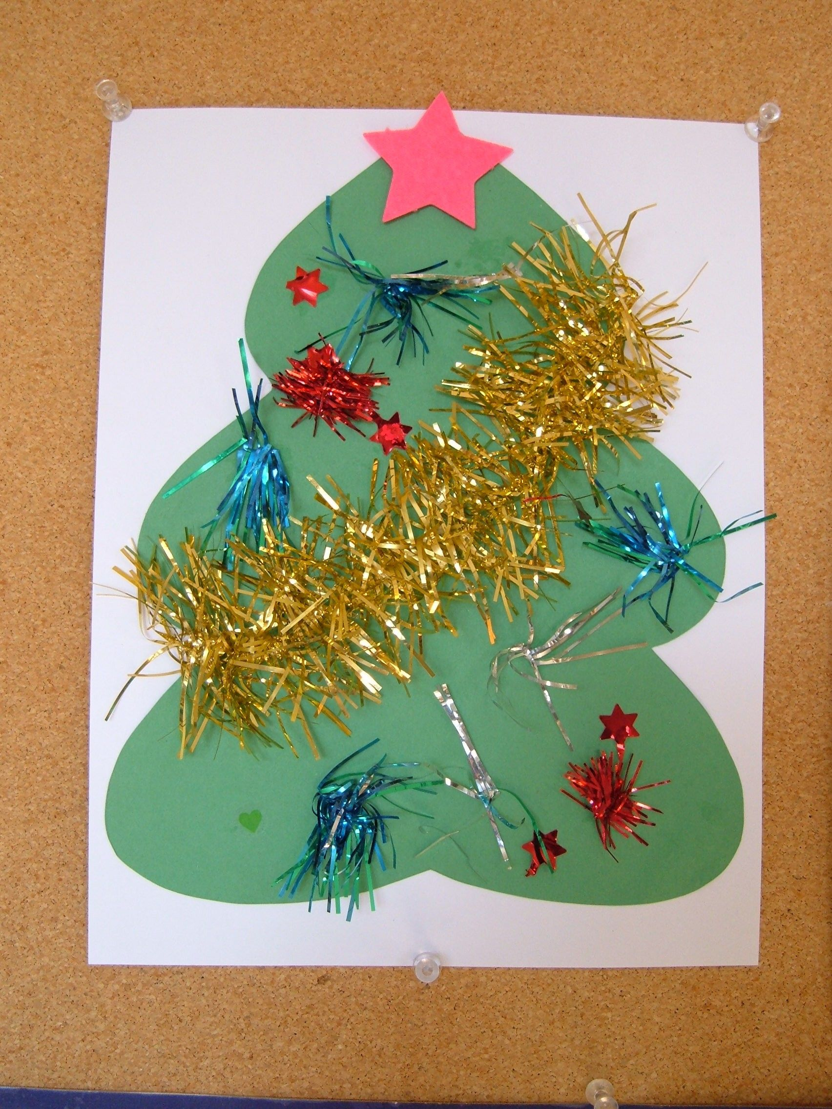 Tinsel Christmas Tree Free Printable Preschool Craft