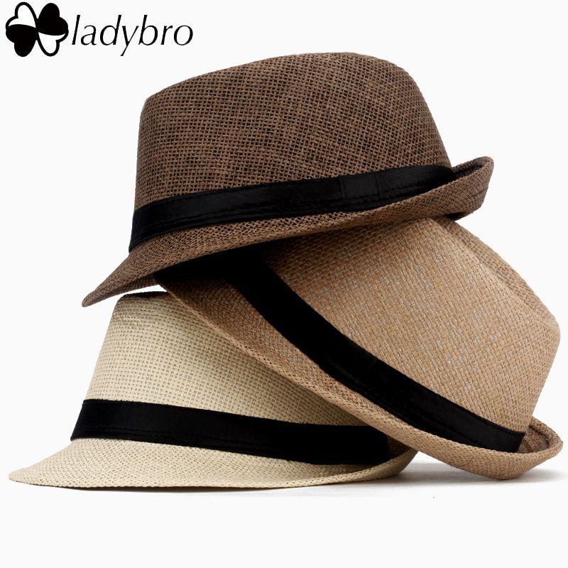 aef71c650f523 Ladybro Casual Panama Sun Hats Straw Men Beach Summer Fashion Hats For Women  Fedora Trilby Gangster