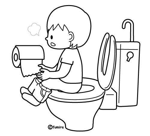 トイレに行く男の子のイラスト2ぬりえ 作りたい Higiene Niños
