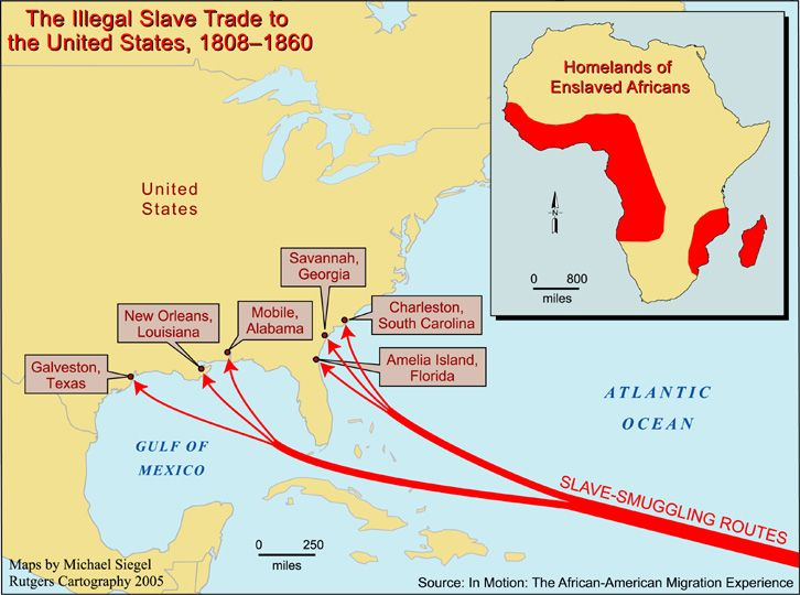 Illegal Slave Trade To The United States - 1808 map of the us