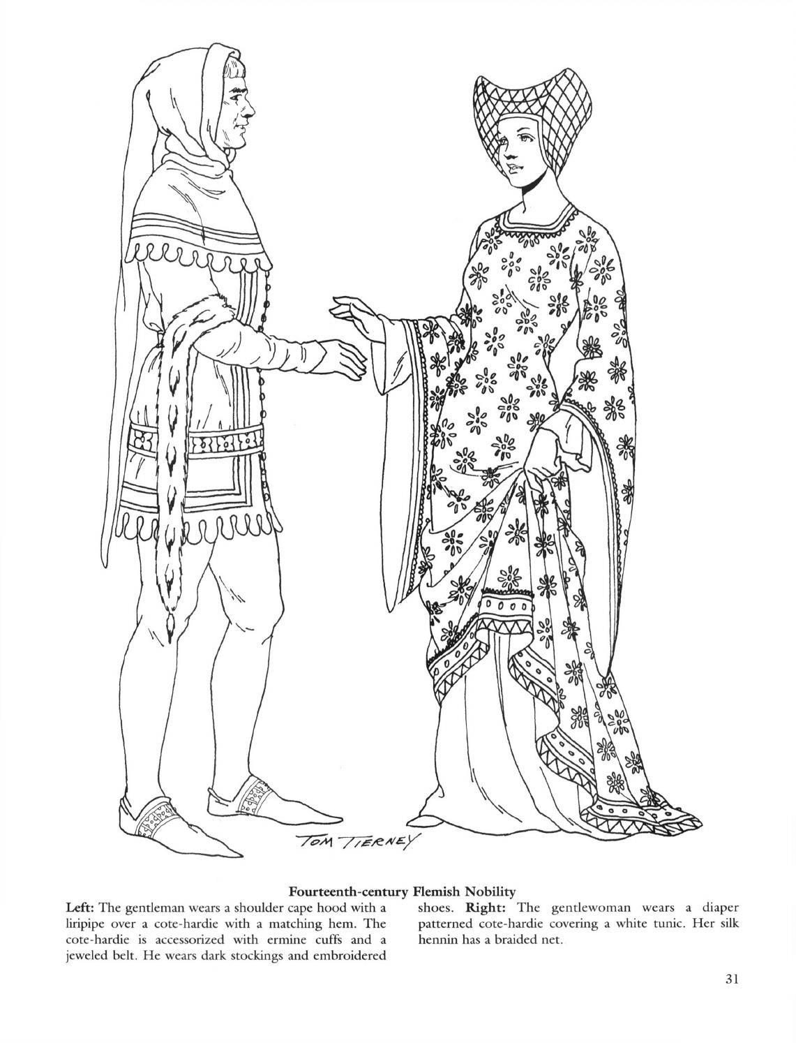 Medieval fashions coloring book, 52i, english | Medieval y Colorear