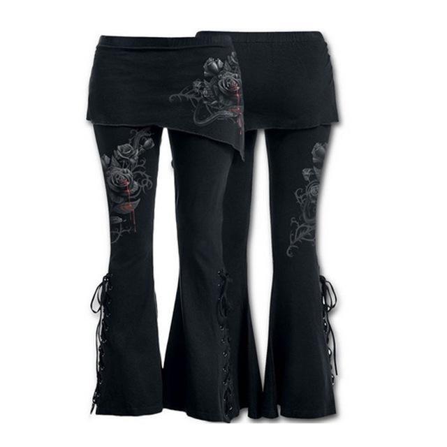 f0d41810d0e6 Black Boho Gypsy Gothic Lace Up Flare Skirt Pants Bleeding Roses 3 Styles  S-2XL