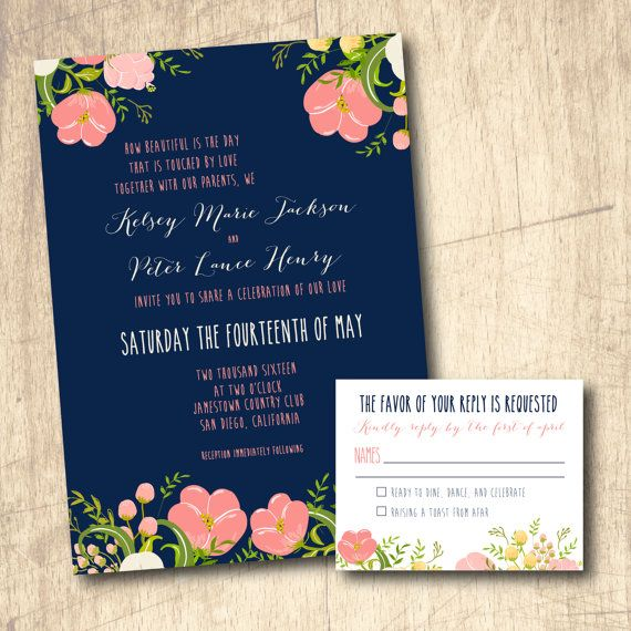coral and navy wedding invitation printed or printable by livinghuedesign on etsy - Navy And Coral Wedding Invitations