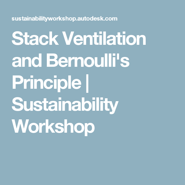 Stack Ventilation And Bernoulli S Principle Sustainability Workshop With Images Ventilation Sustainability Principles
