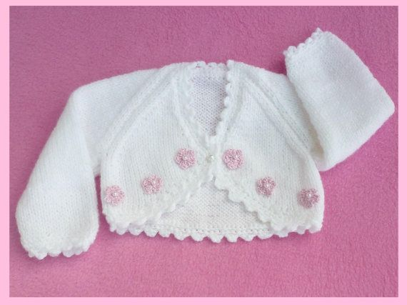 White hand knitted premature baby bolero cardigan Frees, Knitted baby and H...