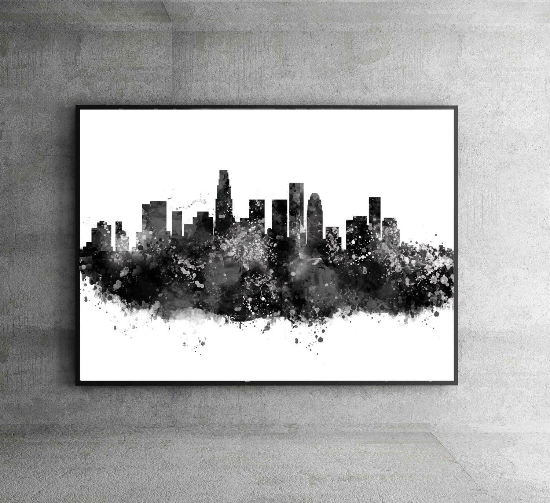 Los Angeles Watercolor Print City Skyline Los Angeles Poster City - Los angeles poster black and white