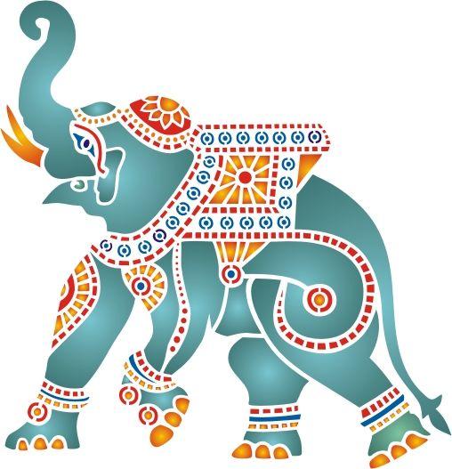 jumbo indian elephant stencil elephants pinterest