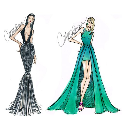 2 layered gown croquis - Google Search
