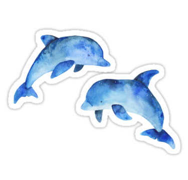 Watercolour Dolphins Sticker by ChantelleQueArt