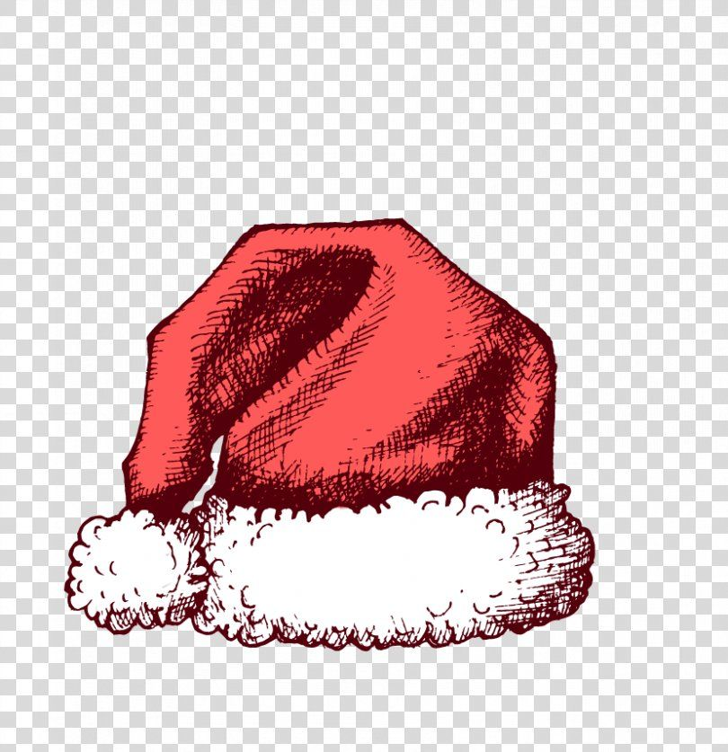 Santa Claus Christmas Hat, Handpainted Christmas Hats PNG
