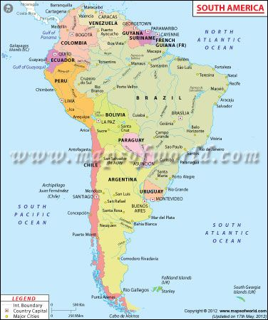 South America Maps World Maps Pinterest South America Map - South america cities map