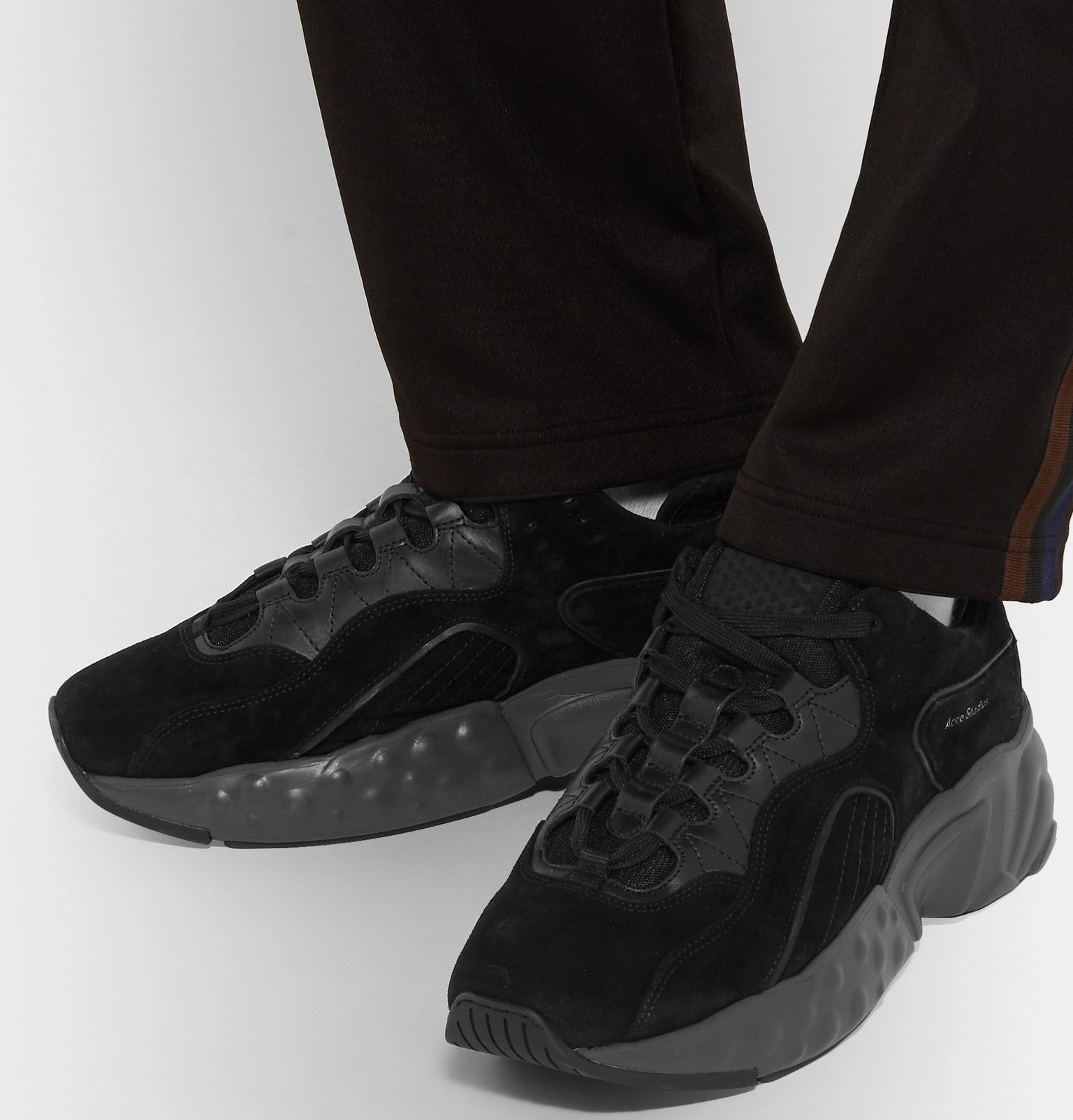 Black Suede, Leather and Mesh Sneakers