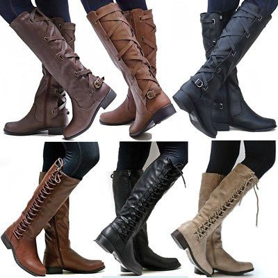 56a8a365d8b Women PU Leather Mid Calf Boots Ladies Block Low Heels Lace Up Boots Riding  Shoe