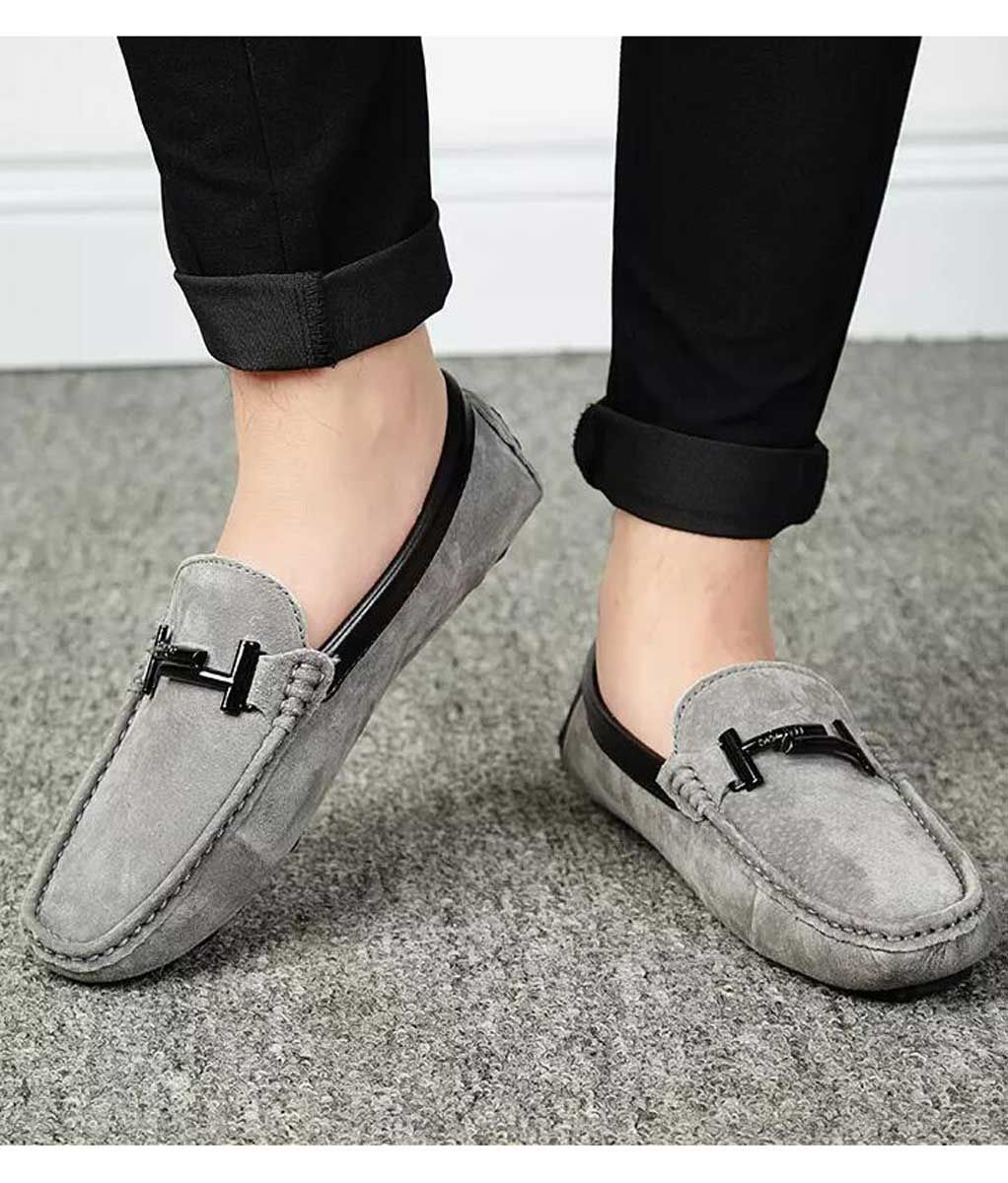 Grey T shape buckle leather slip on