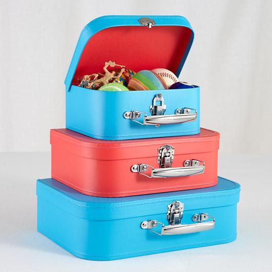 The Land of Nod | Kids Storage: Blue and Red Storage Suitcases in ...