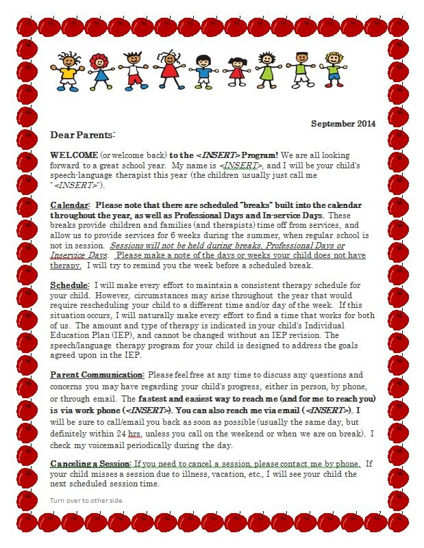 LetS Talk Speech And Language Freebie  Parent Welcome Letter