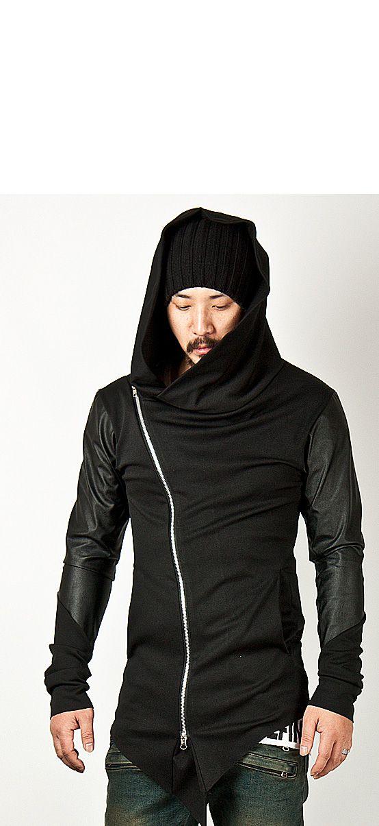 2cd11a4684b4 Asymmetric Leather Assassin Contrast Sleeve Diagonal Zip Hoodie 25 ...
