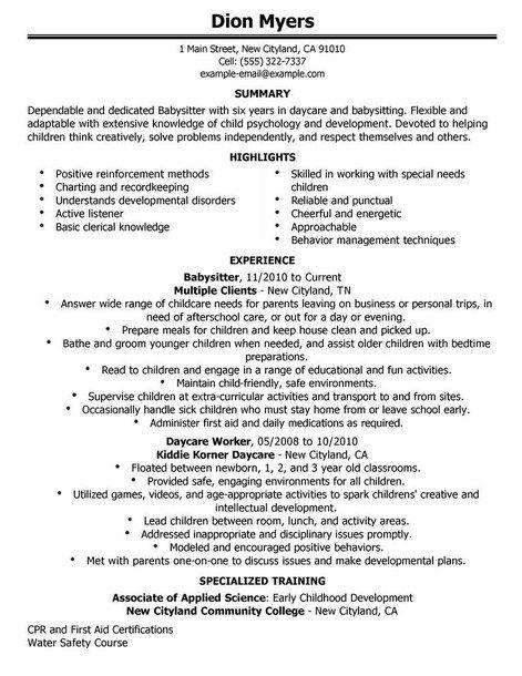 Nanny Babysitter Resume Sample - http://topresume.info/nanny ...