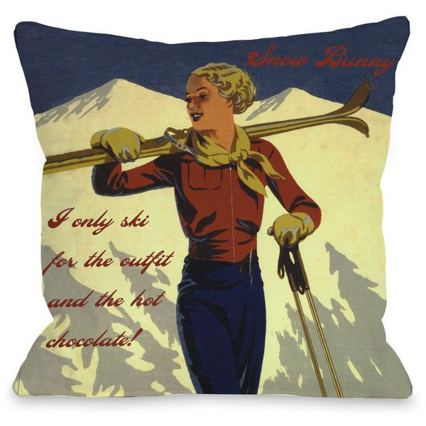 Snow Bunny Vintage Ski Throw Pillow ($40) ❤ liked on Polyvore featuring home, home decor, throw pillows, multi, vintage home accessories, patterned throw pillows, vintage throw pillows, square throw pillows and rabbit throw pillow